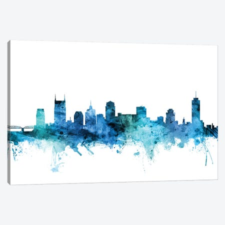 Nashville, Tennessee Skyline 3-Piece Canvas #MTO1491} by Michael Tompsett Canvas Print