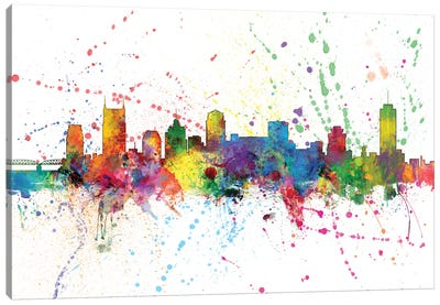 Rainbow Splash Skyline Series: Nashville, Tennessee, USA Canvas Art Print