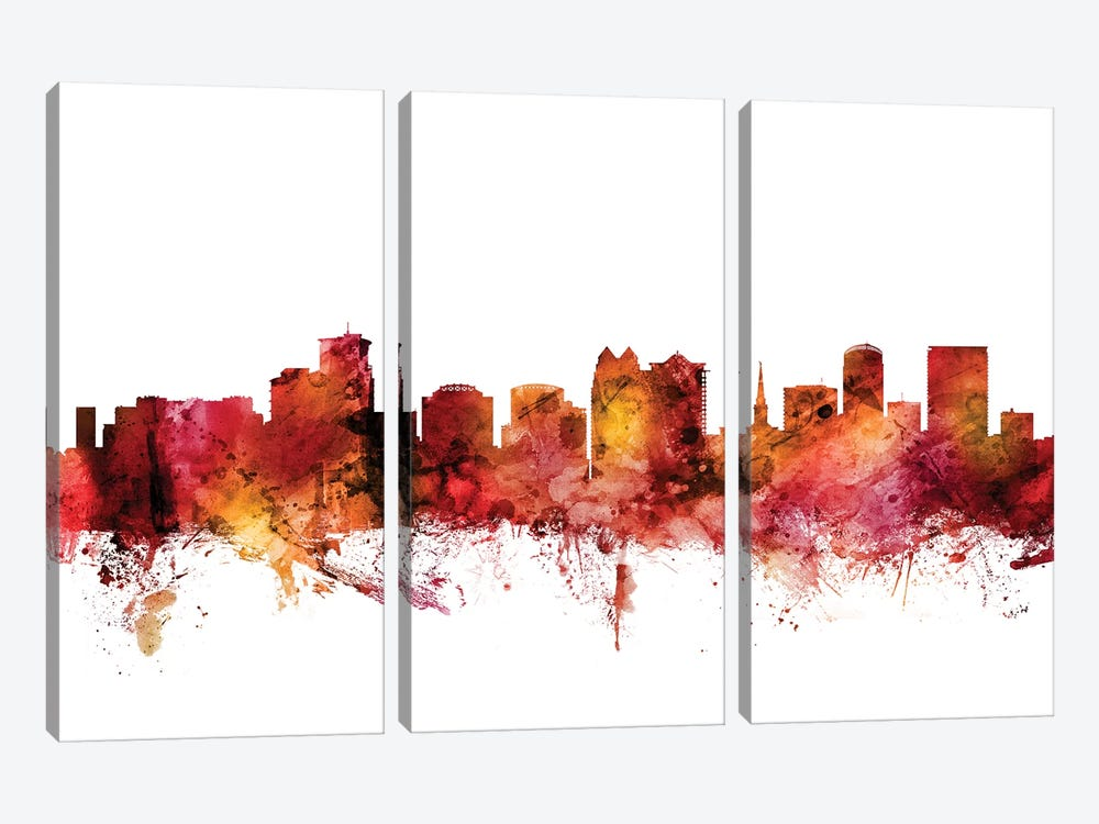 Orlando, Florida Skyline by Michael Tompsett 3-piece Canvas Wall Art
