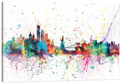 Rainbow Splash Skyline Series: New York City, New York, USA Canvas Print #MTO151
