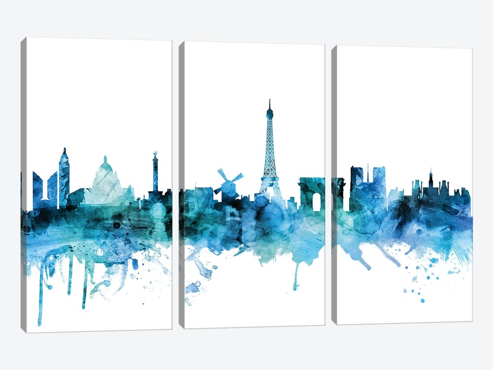 Paris, France Skyline by Michael Tompsett 3-piece Canvas Art Print