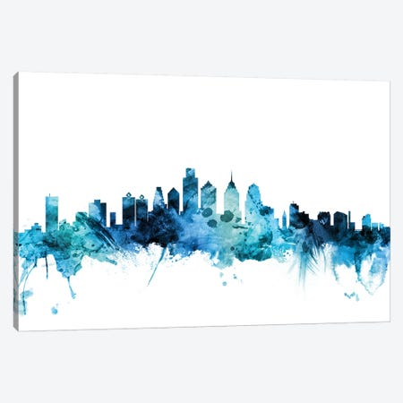 Philadelphia, Pennsylvania Skyline Canvas Print #MTO1527} by Michael Tompsett Canvas Wall Art