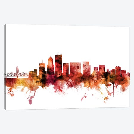 Portland, Oregon Skyline Canvas Print #MTO1536} by Michael Tompsett Canvas Art Print