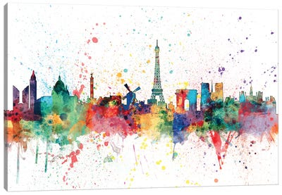 Rainbow Splash Skyline Series: Paris, France Canvas Print #MTO153