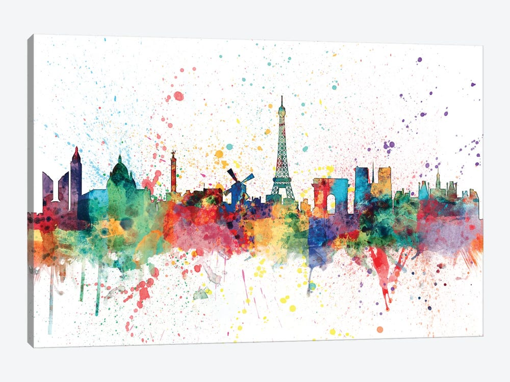 Rainbow Splash Skyline Series: Paris, France by Michael Tompsett 1-piece Canvas Artwork
