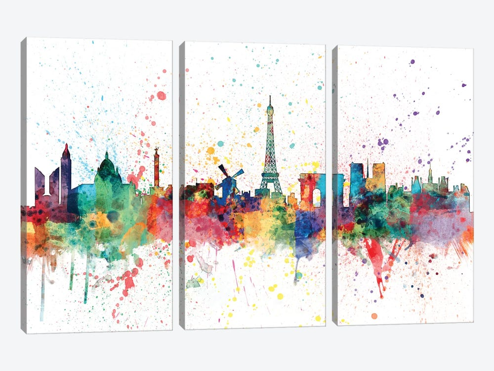 Rainbow Splash Skyline Series: Paris, France by Michael Tompsett 3-piece Canvas Wall Art
