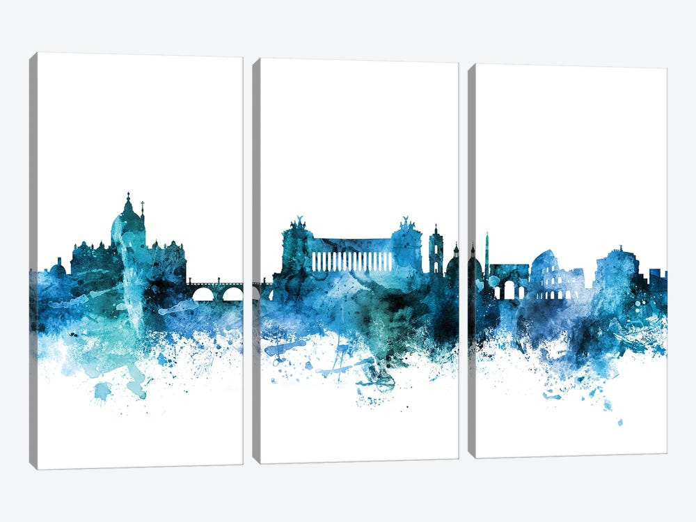 Rome, Italy Skyline by Michael Tompsett 3-piece Canvas Art Print