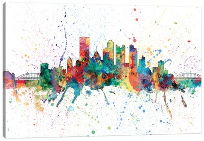 Rainbow Splash Skyline Series: Pittsburgh, Pennsylvania, USA Canvas Print #MTO155