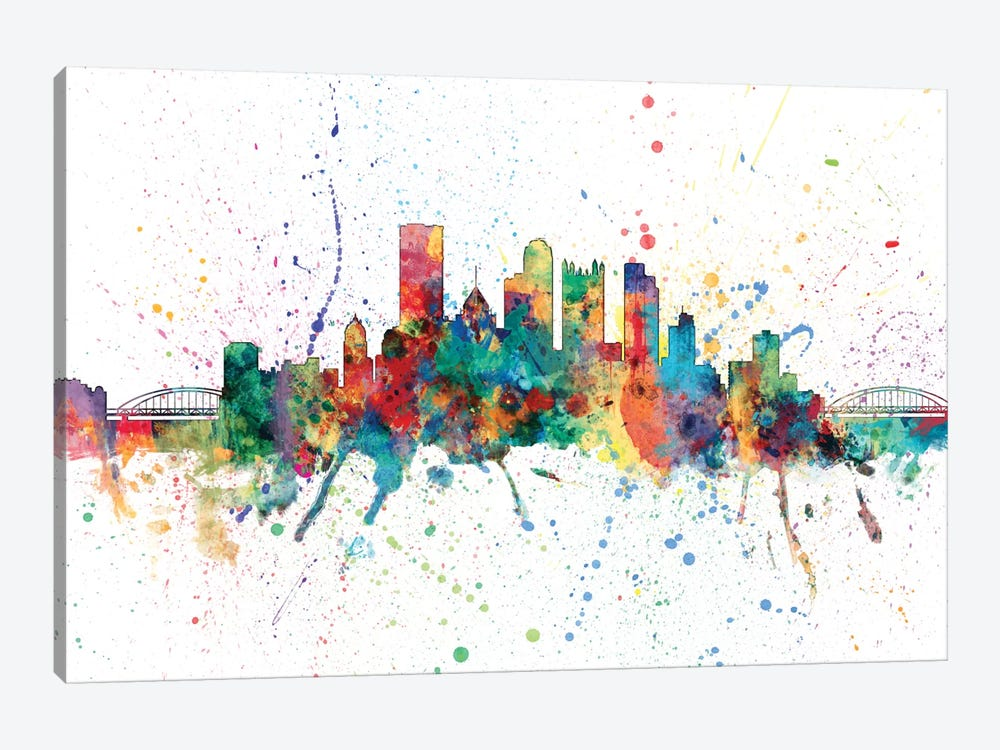 Rainbow Splash Skyline Series: Pittsburgh, Pennsylvania, USA by Michael Tompsett 1-piece Canvas Wall Art