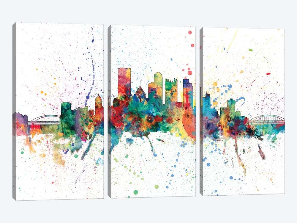 Rainbow Splash Skyline Series: Pittsburgh, Pennsylvania, USA by Michael Tompsett 3-piece Canvas Wall Art