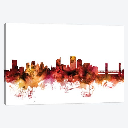 Sacramento, California Skyline Canvas Print #MTO1562} by Michael Tompsett Art Print