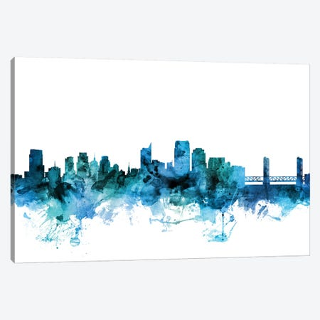 Sacramento, California Skyline Canvas Print #MTO1563} by Michael Tompsett Art Print