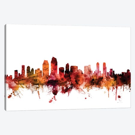 San Diego, California Skyline Canvas Print #MTO1570} by Michael Tompsett Canvas Wall Art