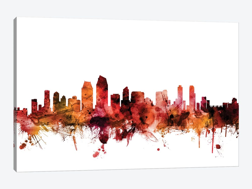 San Diego, California Skyline by Michael Tompsett 1-piece Canvas Artwork