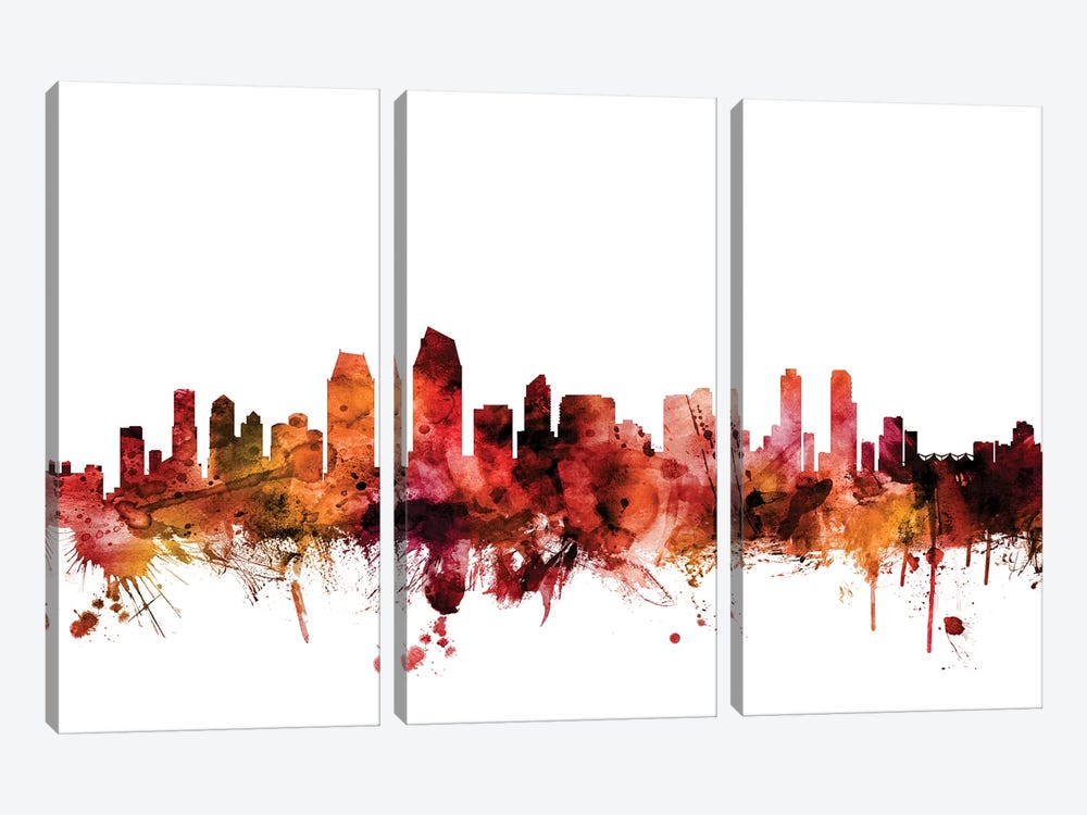San Diego, California Skyline by Michael Tompsett 3-piece Canvas Artwork