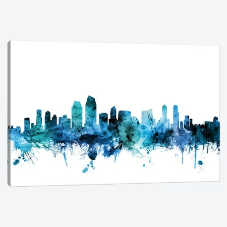 San Diego, California Skyline Canvas Print #MTO1571} by Michael Tompsett Canvas Artwork