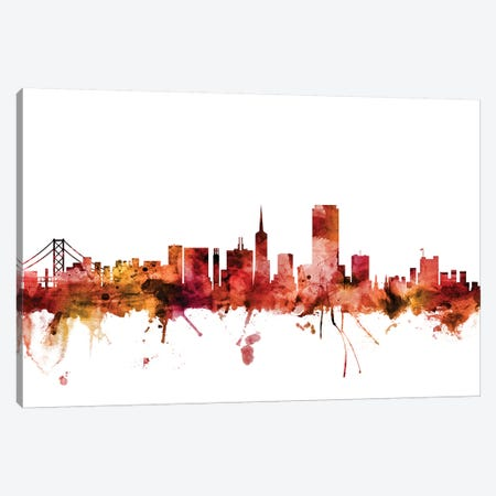 San Francisco, California Skyline Canvas Print #MTO1574} by Michael Tompsett Art Print