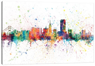 Rainbow Splash Skyline Series: San Francisco, California, USA Canvas Art Print