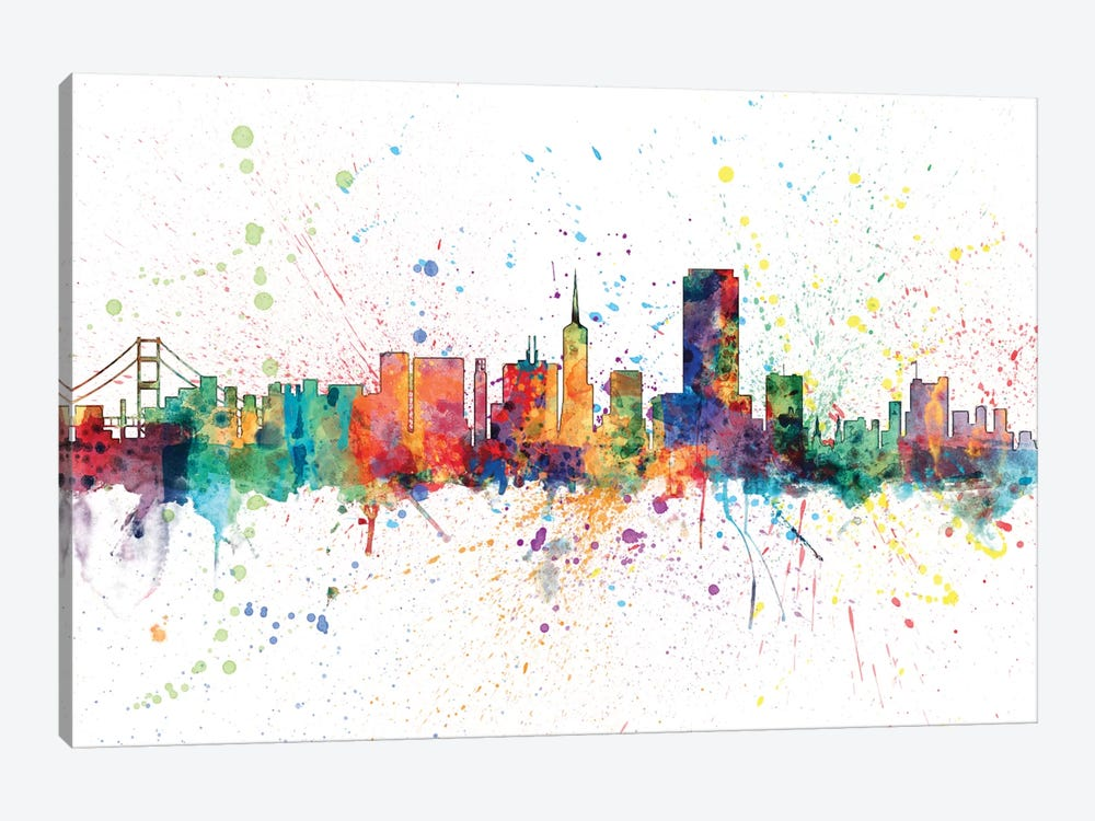 Rainbow Splash Skyline Series: San Francisco, California, USA by Michael Tompsett 1-piece Canvas Artwork