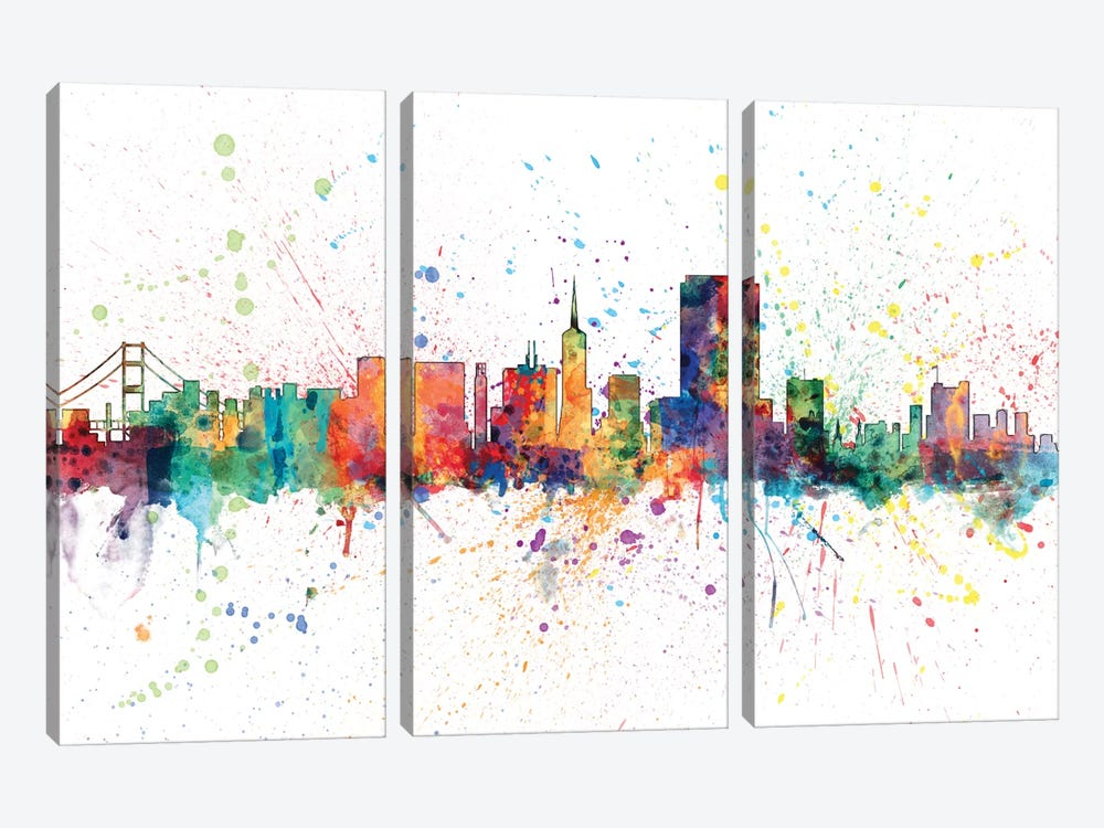 Rainbow Splash Skyline Series: San Francisco, California, USA by Michael Tompsett 3-piece Canvas Artwork