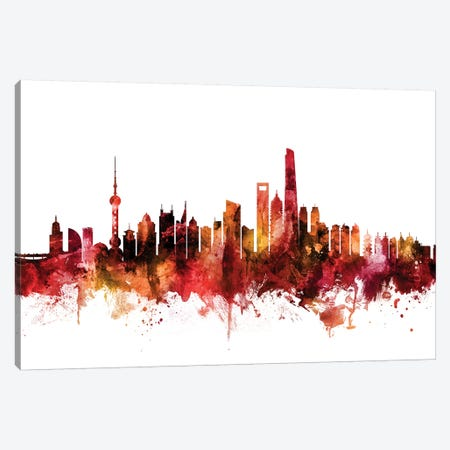 Shanghai, China Skyline Canvas Print #MTO1584} by Michael Tompsett Canvas Artwork
