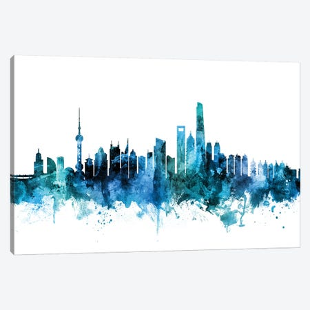 Shanghai, China Skyline Canvas Print #MTO1585} by Michael Tompsett Canvas Artwork