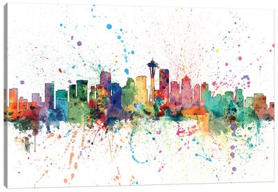 Rainbow Splash Skyline Series: Seattle, Washington, USA Canvas Print #MTO158