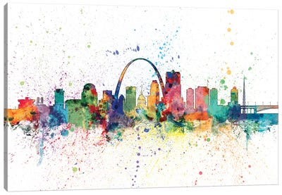 Rainbow Splash Skyline Series: St. Louis, Missouri, USA Canvas Art Print