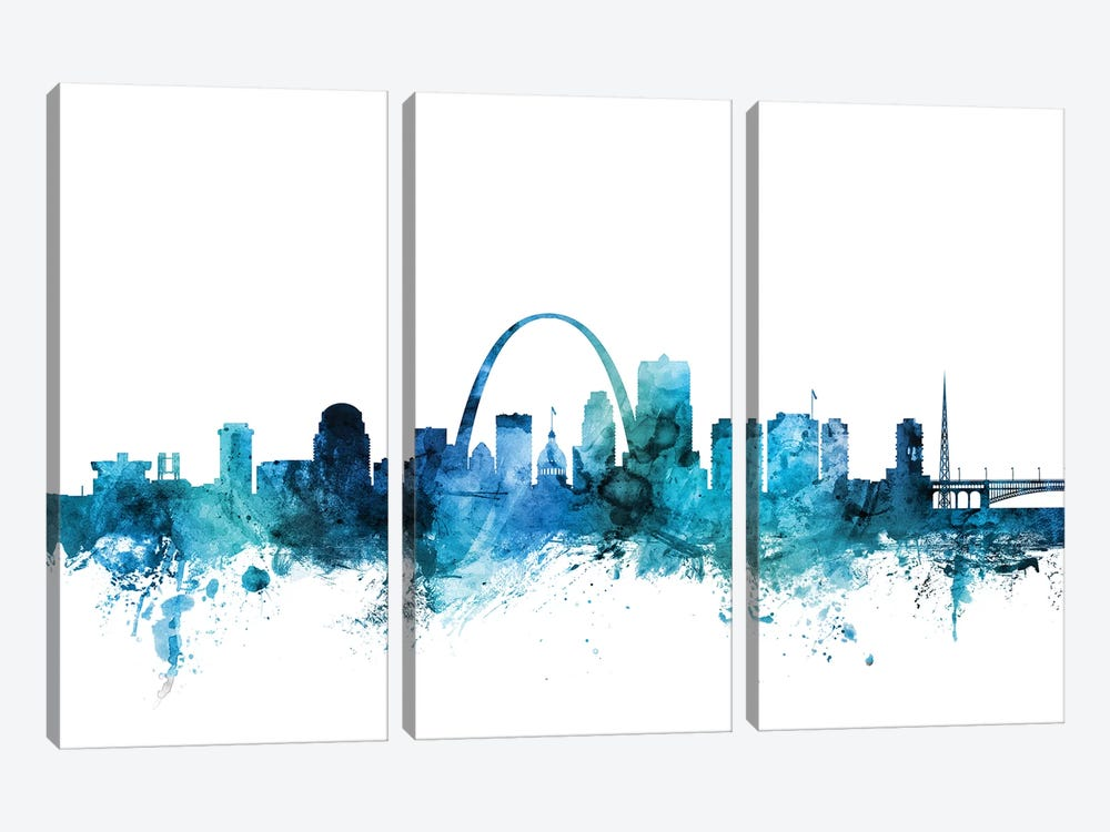 St. Louis, Missouri Skyline by Michael Tompsett 3-piece Canvas Wall Art