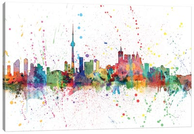 Rainbow Splash Skyline Series: Toronto, Canada Canvas Print #MTO160