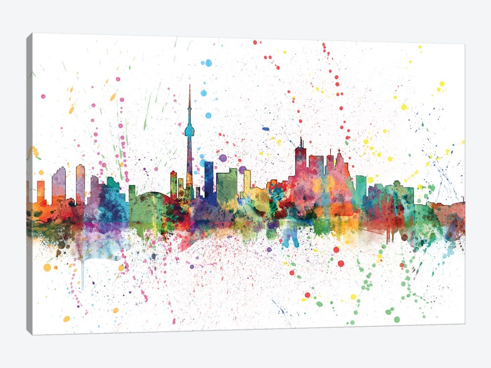Rainbow Splash Skyline Series: Toronto, Canada by Michael Tompsett 1-piece Canvas Wall Art