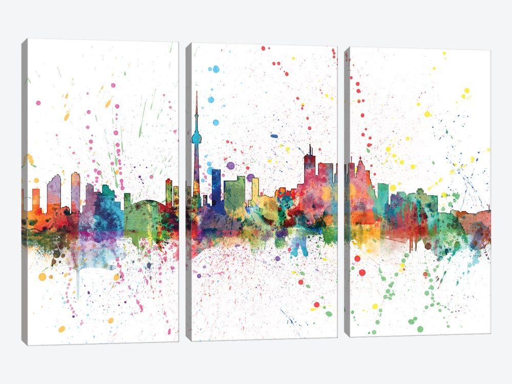 Rainbow Splash Skyline Series: Toronto, Canada by Michael Tompsett 3-piece Canvas Wall Art