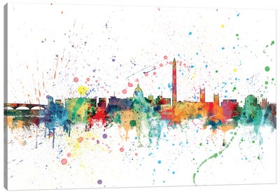 Rainbow Splash Skyline Series: Washington, D.C., USA Canvas Print #MTO161