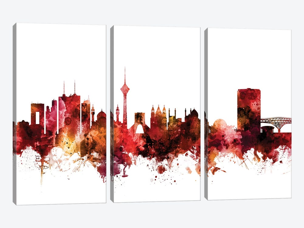 Tehran, Iran Skyline by Michael Tompsett 3-piece Canvas Art Print
