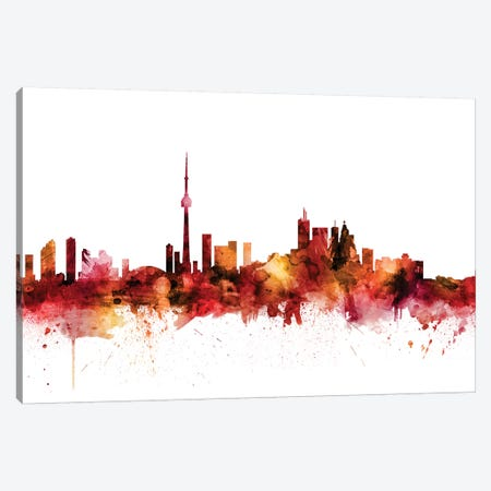 Toronto, Canada Skyline Canvas Print #MTO1628} by Michael Tompsett Canvas Wall Art