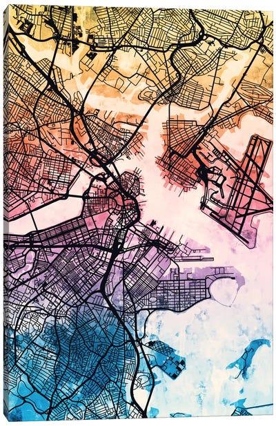 Reverse Blend Urban Street Map Series: Boston, Massachusetts, USA Canvas Print #MTO162