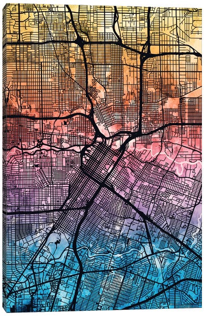 Reverse Blend Urban Street Map Series: Houston, Texas, USA Canvas Art Print