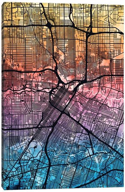 Reverse Blend Urban Street Map Series: Houston, Texas, USA Canvas Print #MTO164