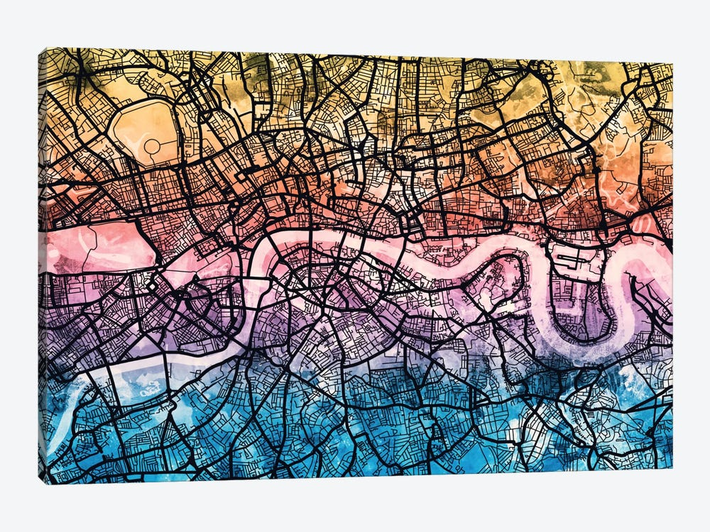 Reverse Blend Urban Street Map Series: London, England, United Kingdom by Michael Tompsett 1-piece Canvas Print