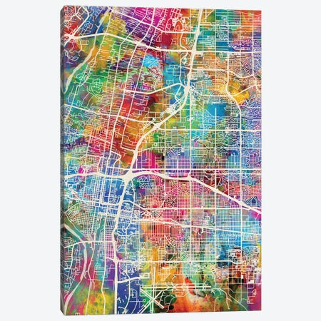 Albuquerque New Mexico City Street Map I 3-Piece Canvas #MTO1666} by Michael Tompsett Art Print