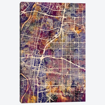 Albuquerque New Mexico City Street Map II 3-Piece Canvas #MTO1667} by Michael Tompsett Art Print