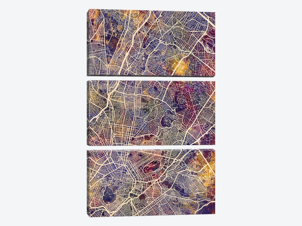 Athens Greece City Map II by Michael Tompsett 3-piece Canvas Art
