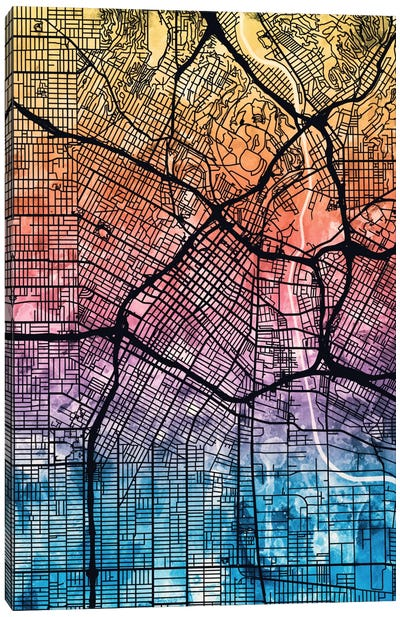 Reverse Blend Urban Street Map Series: Los Angeles, California, USA Canvas Print #MTO166