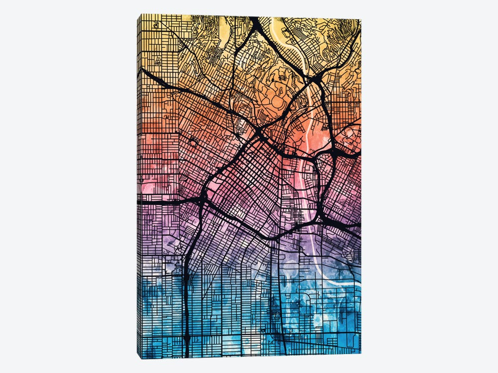Reverse Blend Urban Street Map Series: Los Angeles, California, USA by Michael Tompsett 1-piece Canvas Art