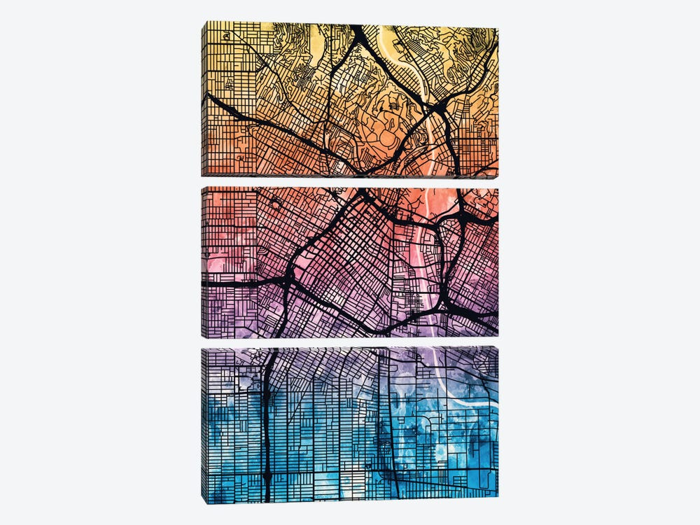 Reverse Blend Urban Street Map Series: Los Angeles, California, USA 3-piece Canvas Wall Art
