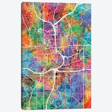 Atlanta Georgia City Map I Canvas Print #MTO1670} by Michael Tompsett Canvas Art Print