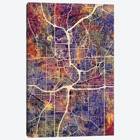 Atlanta Georgia City Map II 3-Piece Canvas #MTO1671} by Michael Tompsett Art Print