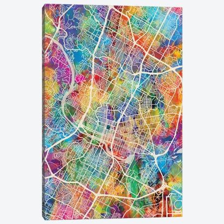 Austin Texas City Map I Canvas Print #MTO1672} by Michael Tompsett Canvas Art Print