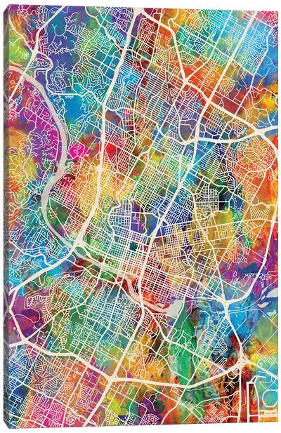 Austin Texas City Map I Canvas Art Print