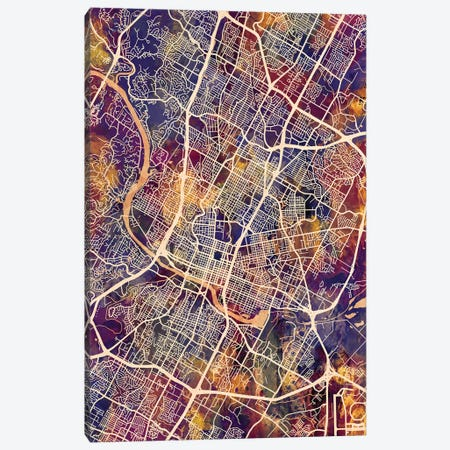 Austin Texas City Map II Canvas Print #MTO1673} by Michael Tompsett Art Print